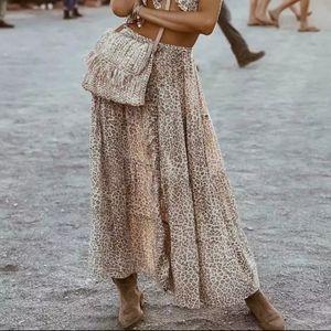 Boho leopard print ruched maxi skirt